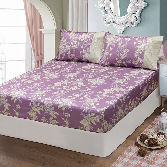 【FITNESS】精梳棉單人床包枕套二件組--緲緲煙花(紫)3.5*6.2