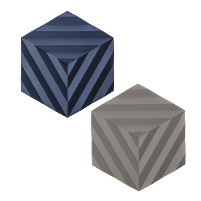(組)丹麥ZONE FOLD系列幾何矽膠鍋墊-紫羅藍+泥灰