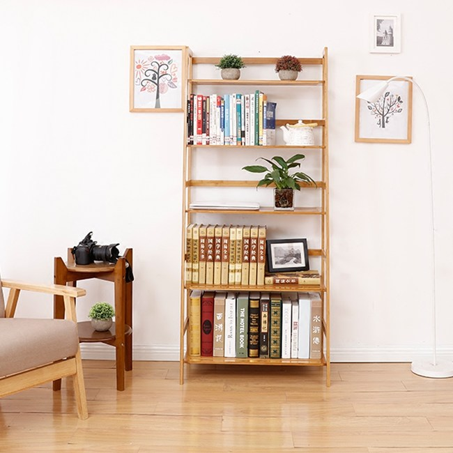 竹藝竹製階梯五層置物架