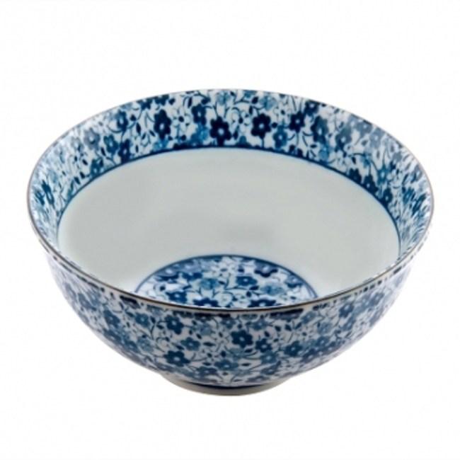 藍染小花 4.5吋丸碗 11.5cm S3-12