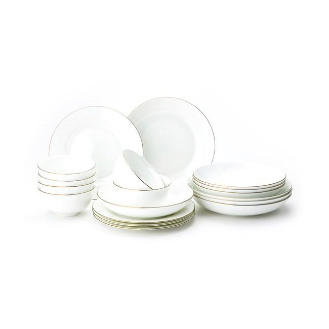 HOLA 緻金骨瓷18件餐具组 可微波 金 6人份白色餐具 可適用微波爐及洗碗機