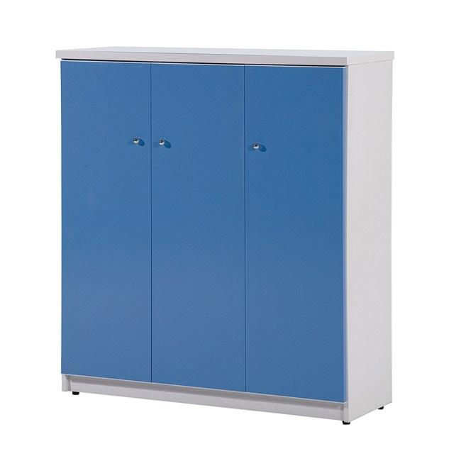 顛覆設計 防水塑鋼3.2尺三門繽紛鞋櫃-寬96x深33x高106cm粉藍色