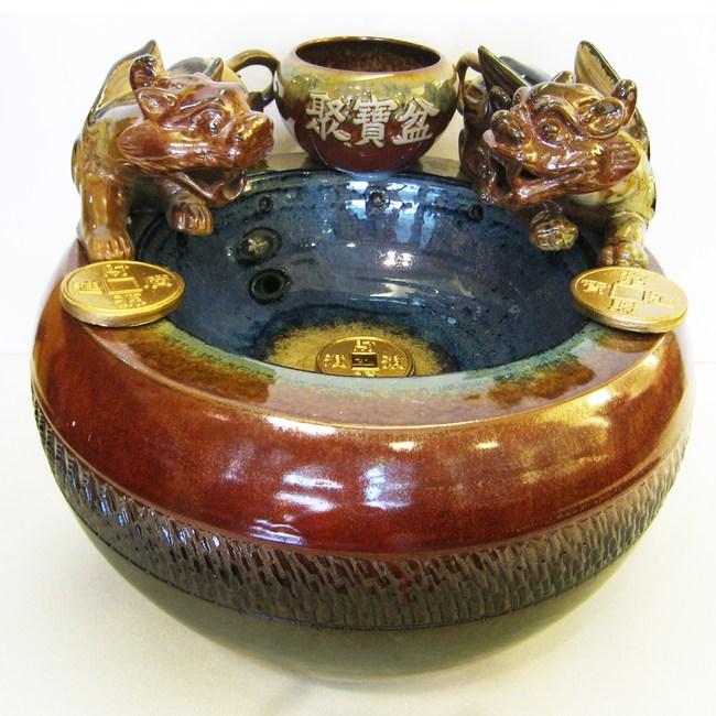 大【雙招財貔貅】聚寶盆漩渦流水盆 風水輪 時來運轉流水盆直徑34cm x 高31cm
