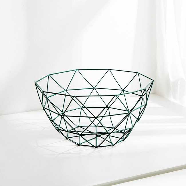 現代風金屬裝飾置物籃--深-綠