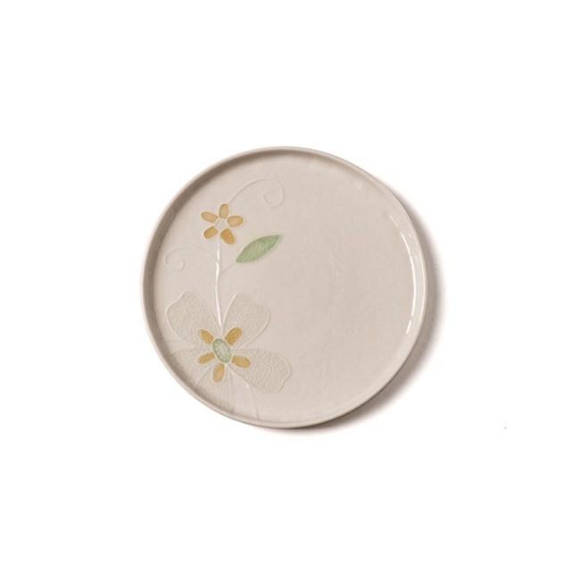 創意日式手繪餐具 6.8英吋平盤米色
