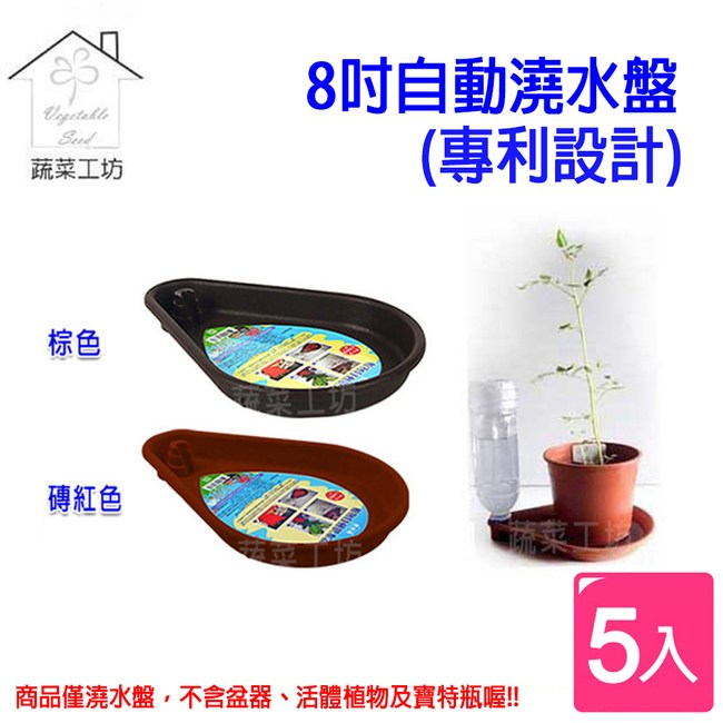 8吋自動澆水盤(專利設計) 5個/組-棕色