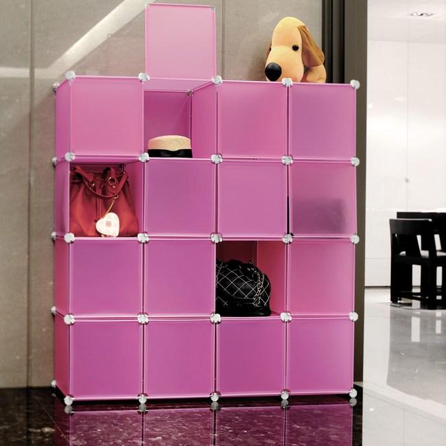 【H&R安室家】16格16門收納櫃-12吋百變組合櫃粉色
