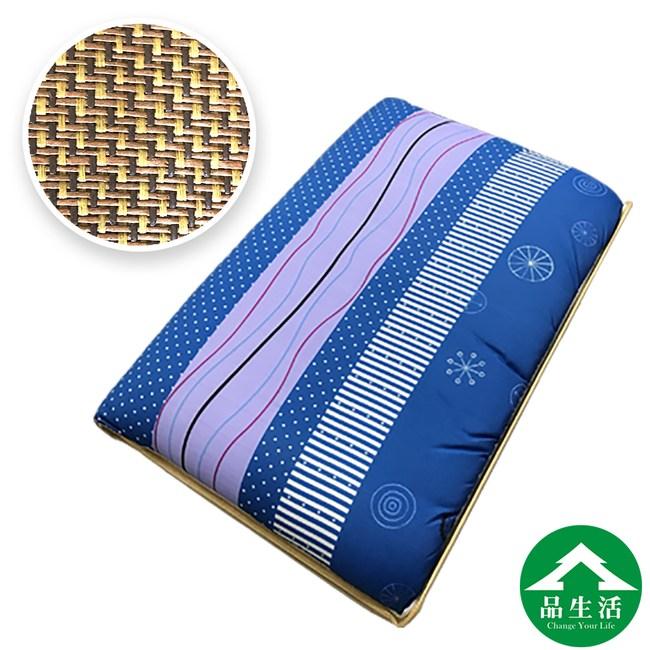 【品生活】亞藤透氣三折冬夏兩用床墊_藍色海洋(5X6尺雙人)