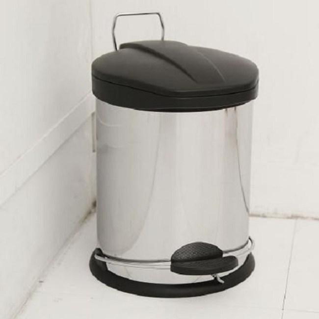 【H&R安室家】不鏽鋼腳踏垃圾桶-5L(台灣製造)