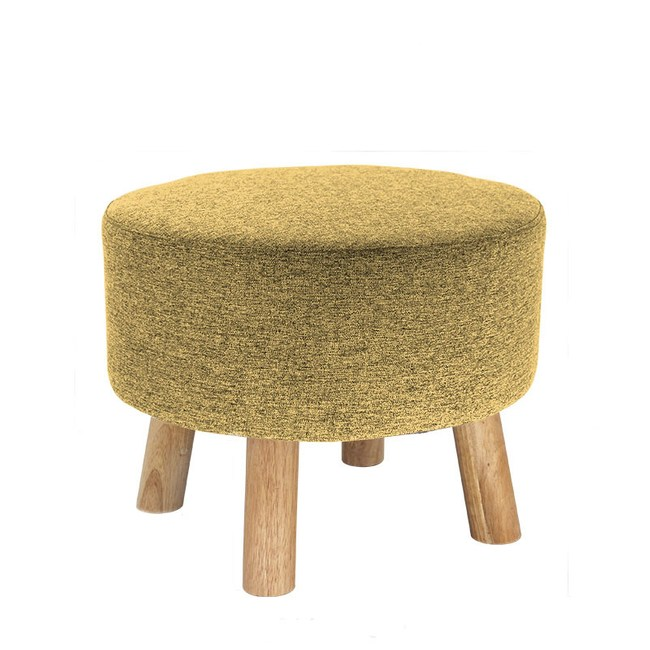 實木圓形棉麻可拆洗穿鞋凳 黃色