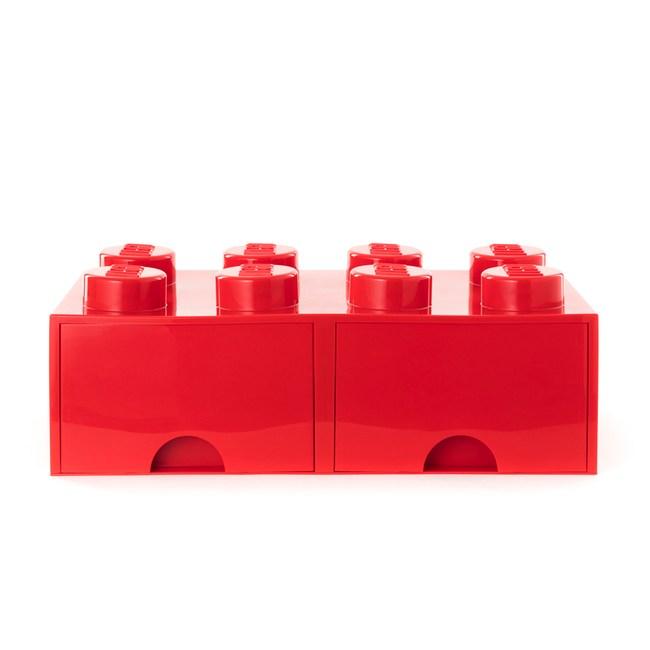 樂高系列 - 經典方塊八抽屜盒(鮮紅)