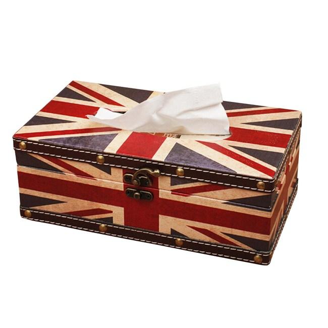 【PUSH!居家生活用品】英倫風面紙盒(長方形)I05