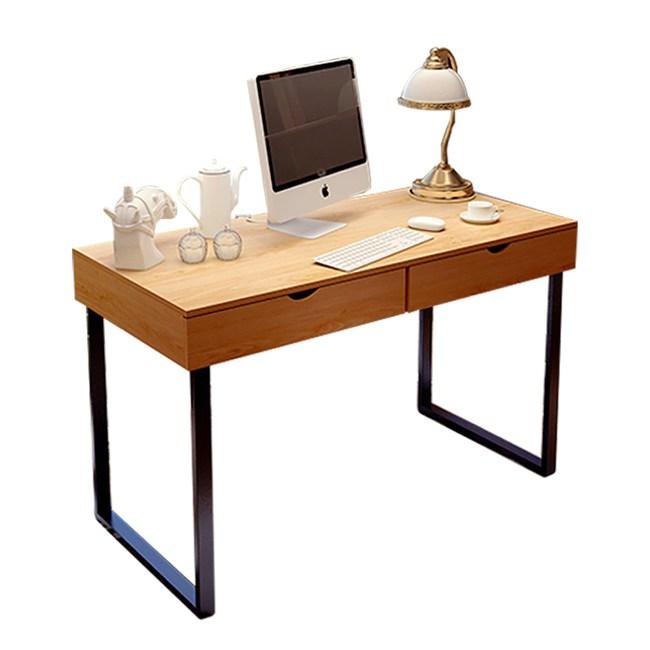 【Incare】DIY簡約仿木紋雙抽屜書桌(74*100*48cm)淺胡桃-黑架