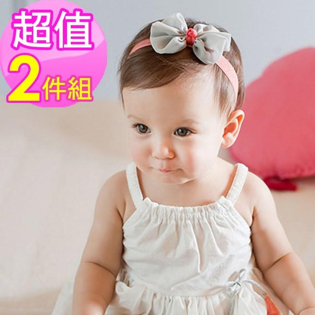寶寶雪紡蝴蝶結髮帶(2件組)-米+綠