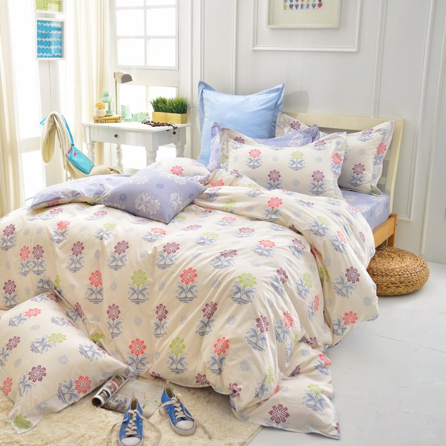 IN HOUSE-Mario s Flower-精梳棉加大兩用被床包組