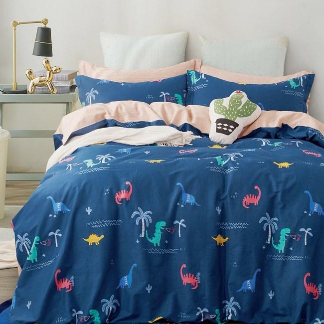 【eyah】100%寬幅精梳純棉雙人加大床包枕套3件組-藍海洋龍共舞
