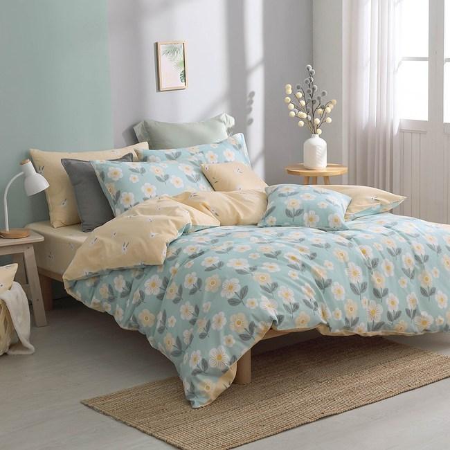 MONTAGUT-洋菊小花園-100%純棉-兩用被床包組(加大)