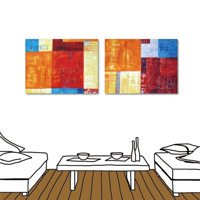 24mama掛畫-二聯式 現代藝術 幾何 抽象無框畫-40x30cm