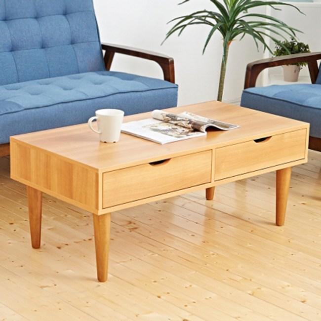 【班尼斯】日本熱賣‧詹姆斯雙抽屜大茶几‧天然實木椅腳-原木色