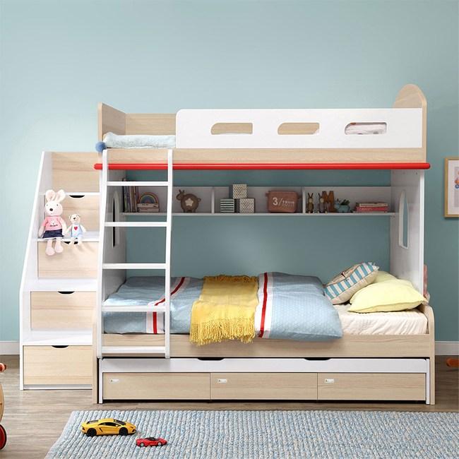 林氏木業創意兒童單人加大4尺雙層床EQ2A-A(含拖床及梯櫃,不含床墊)