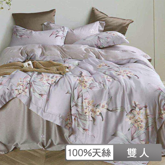 貝兒寢飾-裸睡系列60支天絲全鋪棉床包兩用被四件組-雙人/子曲灰