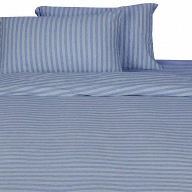 HOLA 自然針織條紋被套 單人 經典淺藍