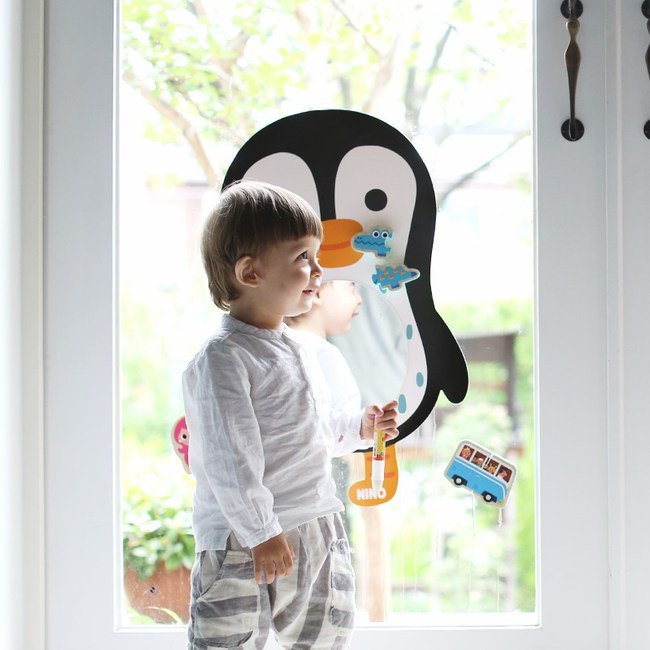 韓國品牌 NINO 兒童彩繪壁貼鏡 QQ酷企鵝