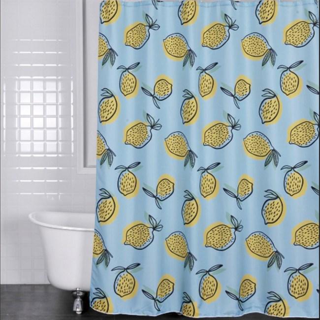 POLY浴簾-塗鴉檸檬
