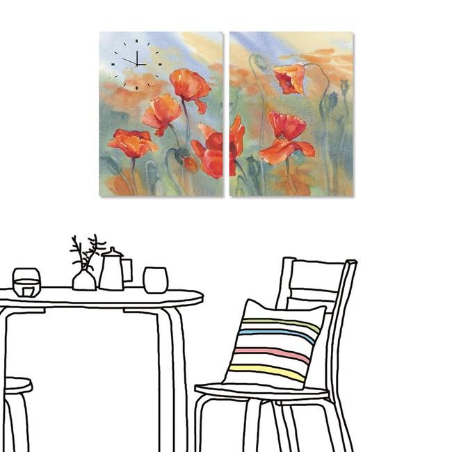 【24mama 掛畫】二聯式 油畫布 時鐘掛畫40x60cm-岸芷汀蘭