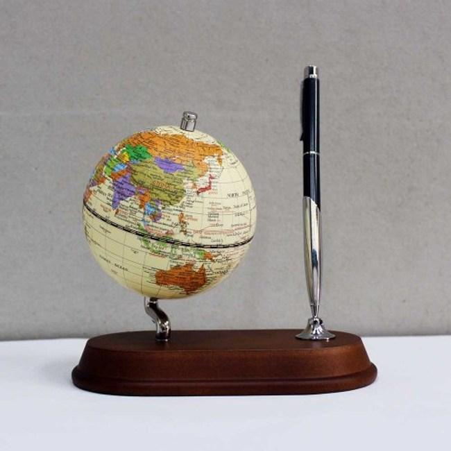 SkyGlobe 3.75吋仿古圖筆插木質底座地球儀(英文版)