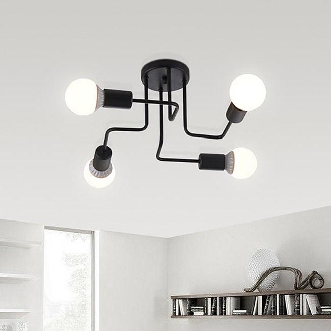 HONEY COMB 工業風火線幾何吸頂燈 雙色款 4光源 黑色 TA8013