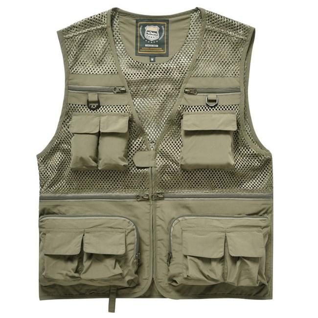 PUSH!戶外休閒用品多功能16口袋背心攝影釣魚背心F26卡其卡其3XL