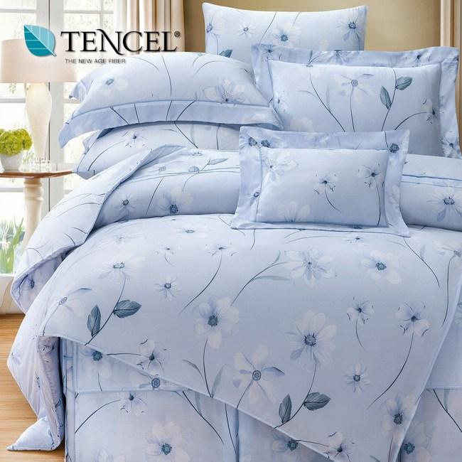 【貝兒居家寢飾生活館】裸睡系列60支天絲床罩七件組(雙人/艾琳娜藍)