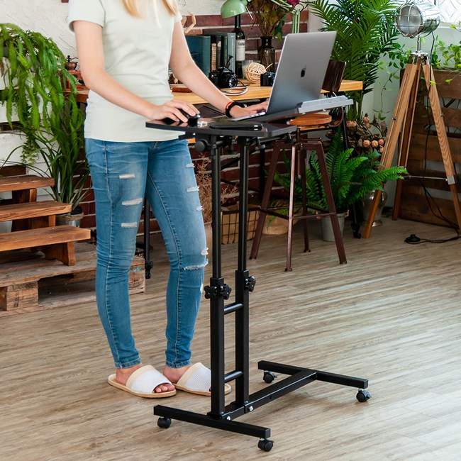 樂嫚妮 360度升降工作桌 懶人桌 電腦桌-黑