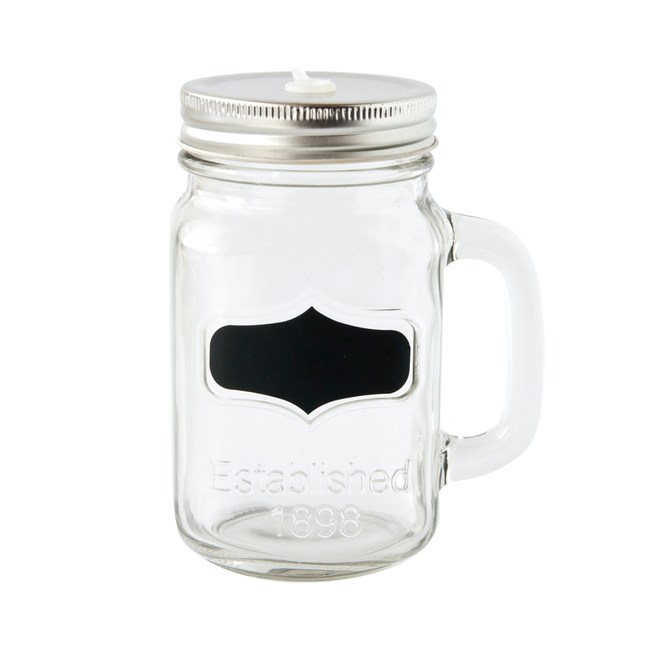 JH附蓋黑板貼玻璃罐450ml 銀