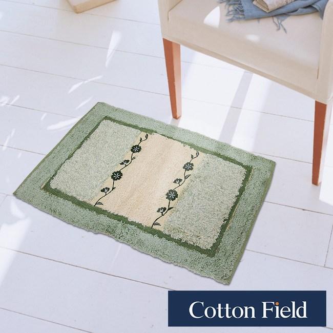 棉花田【蔓緹-綠】純棉刺繡編織踏墊(45x70cm)