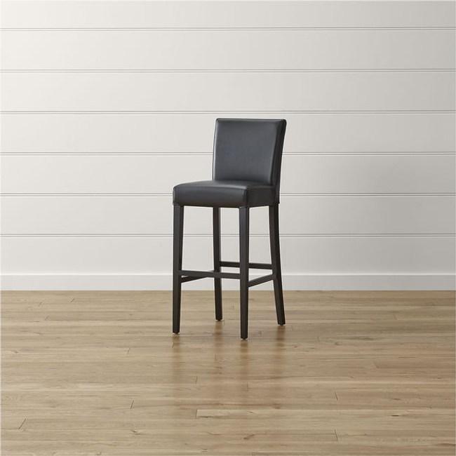 Crate&Barrel Lowe 皮質吧台椅 瑪瑙黑 76cm