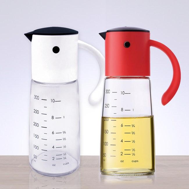 (組)自動開啟防漏油壺300ml-白+紅