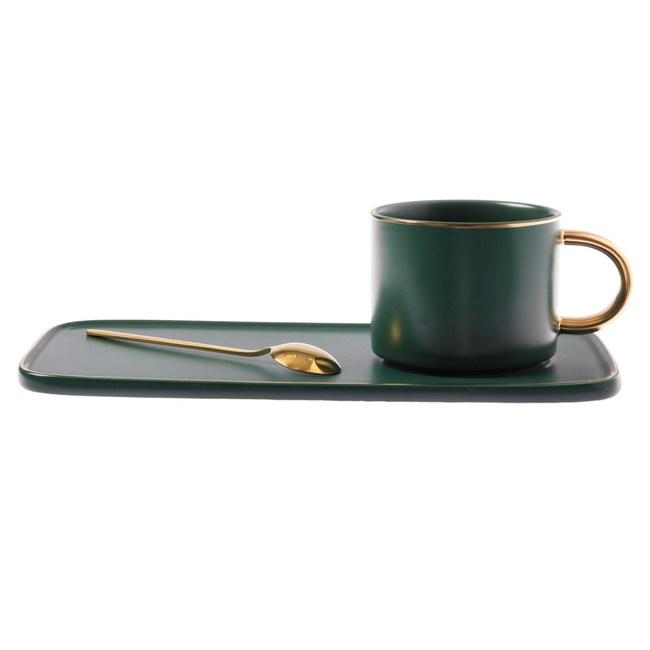 霧光描金長盤杯碟組 不銹鋼匙附屬 墨綠色款