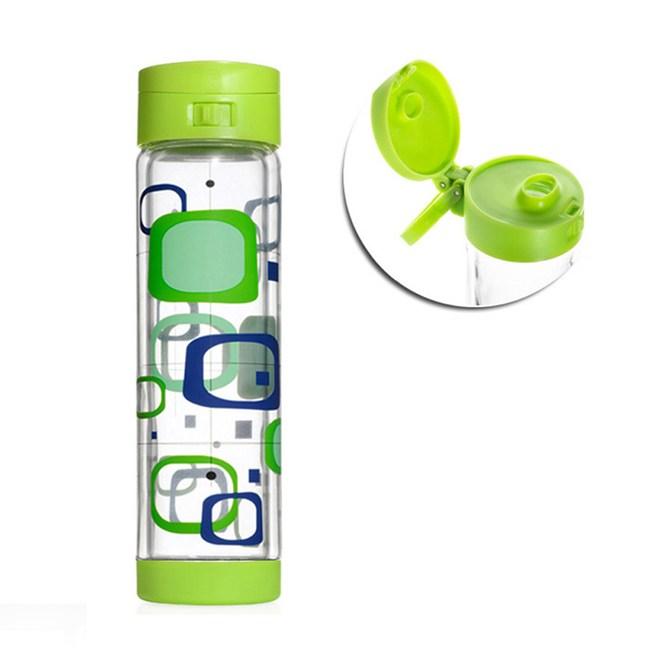 美國Glasstic安全防護玻璃水瓶470 ml彩繪款RETR-掀蓋綠