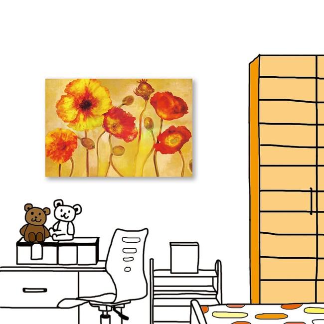 24mama掛畫 單聯式 強烈色彩 花卉 油畫風無框畫 40X60cm