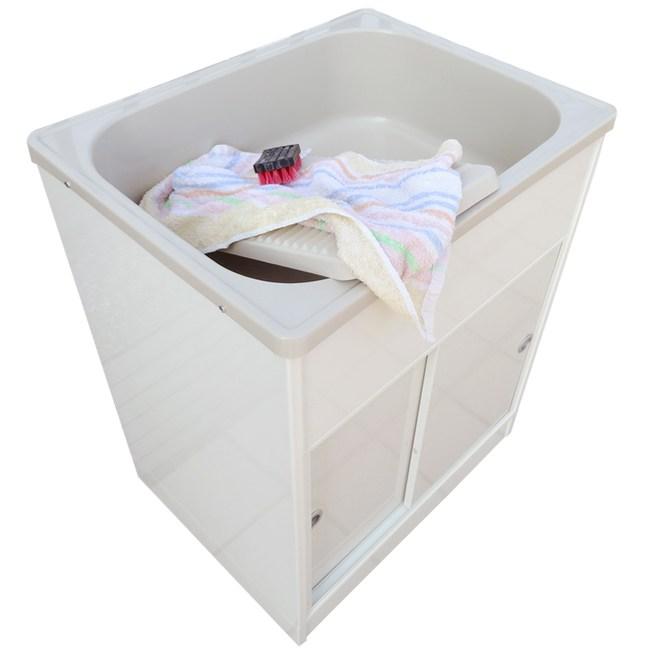 新式中型推門款塑鋼洗衣槽 水槽 洗手台-1入