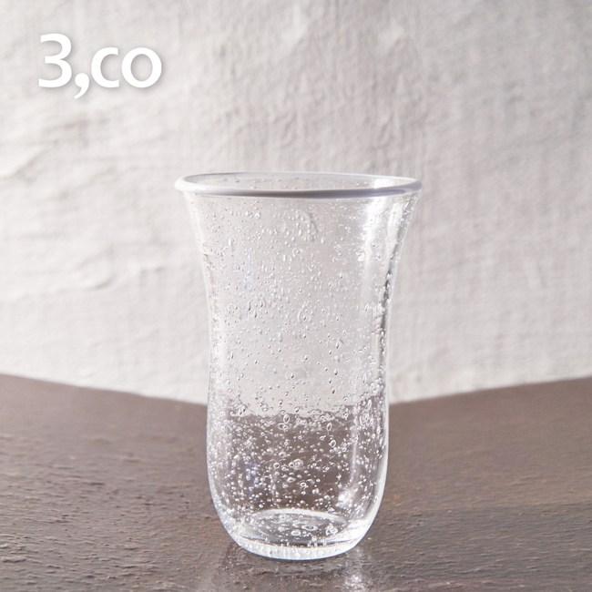【3,co】手工氣泡感玻璃杯(大) - 白邊