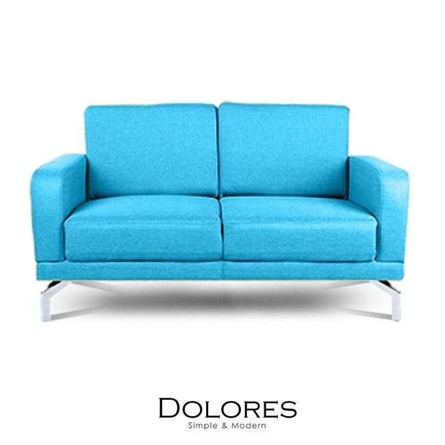 【obis】Dolores雙人布沙發-寶藍色