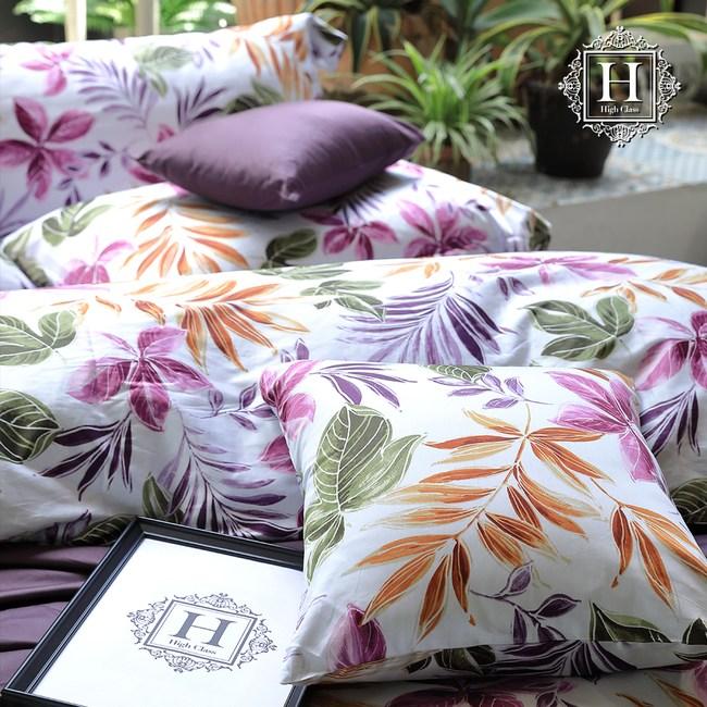 【HOYACASA】絢麗葉語特大300織長纖細棉被套床包組(配加大被套