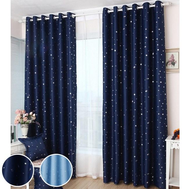 【三房兩廳】滿天亮星星打孔式遮光窗簾-藏青150x170cm