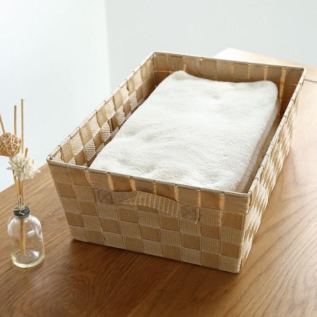日式簡約布質收納籃-米黃