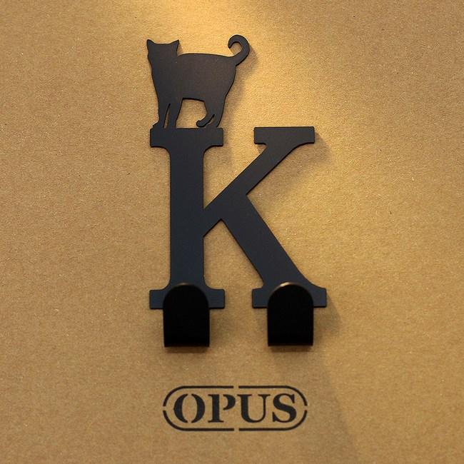 OPUS 歐式鐵藝壁飾掛勾/無痕掛鉤(當貓咪遇上字母K)黑