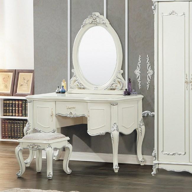 【YFS】懷特白色描銀化妝桌-123x53x176cm(送椅)