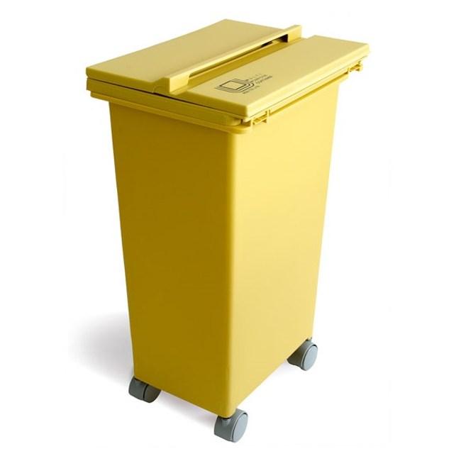 【日本eco container style】機能型三開式垃圾桶21L-黃色